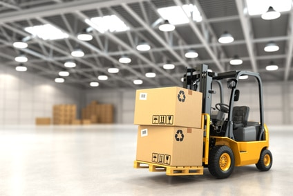Forklift truck in warehouse or storage loading cardboard boxes. 3d